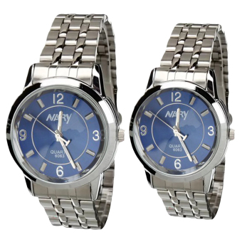 NARY Lovers Silver/Blue Stainless Steel Strap Watch 6063