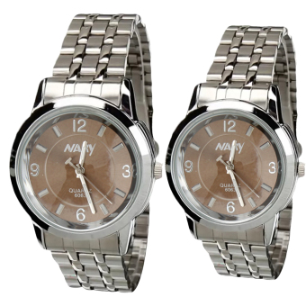 NARY Lovers Silver/Brown Stainless Steel Strap Watch 6063