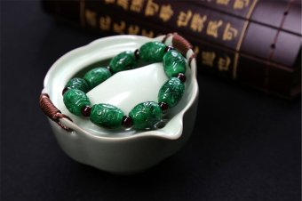 Natural Jade A Jade Bracelet genuine full color dry green irondragon raw jade carved road picnic - intl