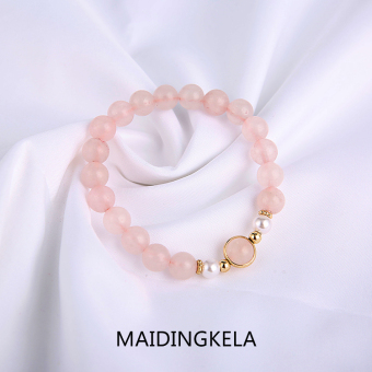 Natural Rose quartz stone Freshwater pearl Dr. peach