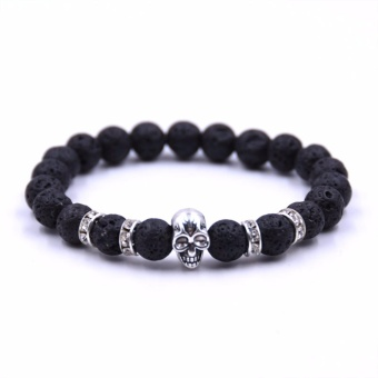 Natural Stones Bracelet Skull Bracelet For Women and Men Lava StoneBeads Bracelets Fashion jewelry pulseira - intl