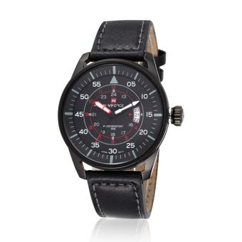 Naviforce Leather Strap Men's Watch NF9044 (Black/Black/Red)