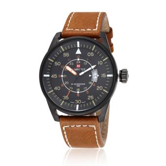 Naviforce Leather Strap Men's Watch NF9044 (Brown/Black/Yellow)