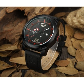 Naviforce Leather Strap Men's Watch NF9063 (Black/Red/Black)