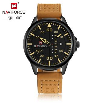 Naviforce Leather Strap Men's Watch NF9074 (Black/Yellow/Brown)