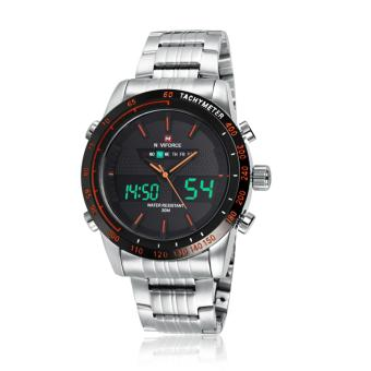 Naviforce Stainless Steel Strap Men's Watch NF9024 (Silver/Black/Orange)