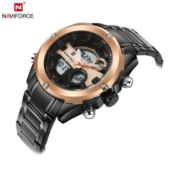 Naviforce Stainless Steel Strap Men's Watch NF9088 (Black/Rose Gold/Brown)