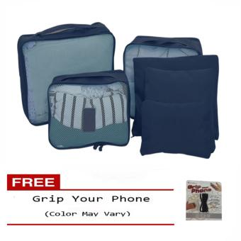 6Pcs Clothes Storage Bags Packing Cube Travel LuggageOrganizer Pouch (Dark Blue) Free Grip Your Phone (Color may vary)