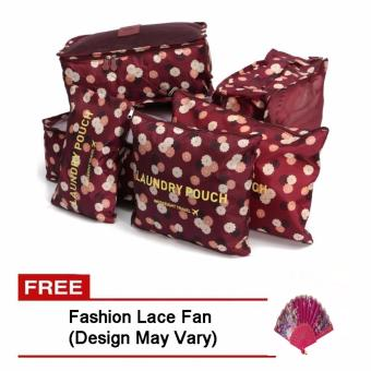 6Pcs Clothes Storage Bags Packing Cube Travel LuggageOrganizer Pouch (Floral Maroon) Free Fashion Lace Fan (Design mayvary)