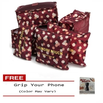 6Pcs Clothes Storage Bags Packing Cube Travel LuggageOrganizer Pouch (Floral Maroon) Free Grip Your Phone (Color mayvary)
