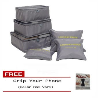 6Pcs Clothes Storage Bags Packing Cube Travel LuggageOrganizer Pouch (Grey) Free Grip Your Phone (Color may vary)