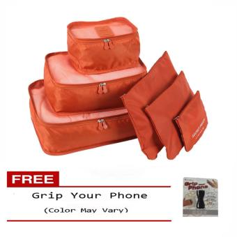 6Pcs Clothes Storage Bags Packing Cube Travel LuggageOrganizer Pouch (Orange) Free Grip Your Phone (Color may vary)