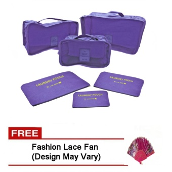 6Pcs Clothes Storage Bags Packing Cube Travel LuggageOrganizer Pouch (Violet) Free Fashion Lace Fan (Design may vary)