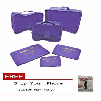 6Pcs Clothes Storage Bags Packing Cube Travel LuggageOrganizer Pouch (Violet) Free Grip Your Phone (Color may vary)