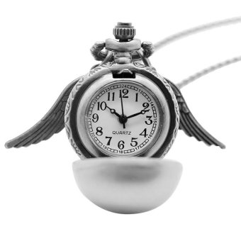 Necklace Pendant Chain Steampunk Quidditch Wing Harry Potter SnitchPocket Watch Silver