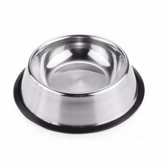 New 2017 Best Quality Pet Stainless Steel No tip Non Skid Dog PuppyCat Pet Food Water Bowl Dish 24oz