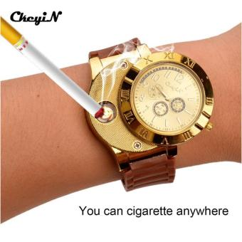 New 2017 Cool Military Electronic Lighter Usb Quartz Watch ManQuartz Sports Cigarette Lighter Men Watches P0452 - intl