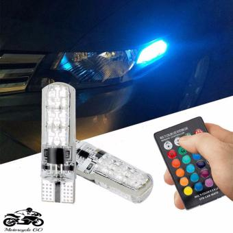 New 2pcs T10 5050 SMD RGB 6 LED Auto Car Wedge Side Light Lamp LEDDemo Lamp Bulb W/Remote Controller Strobe