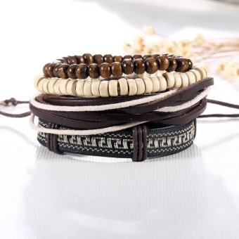 NEW Arrivals 4Pcs/1Set Punk Genuine Wrap Leather Bracelets Men For Women handmade Bohemian Braided Beads Bangles Adjustable - intl