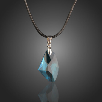 New Blue Wishing Stone Crystal Pendant Necklace Adjust Length Leather Chain - INTL - picture 2