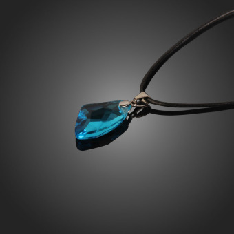 New Blue Wishing Stone Crystal Pendant Necklace Adjust LengthLeather Chain
