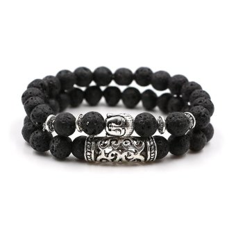 NEW Design Natural Stone Lava Beads Bracelet Set Antique Silver Plated Buddha Bracelet For Men Women Jewelry Gift 2pc - intl