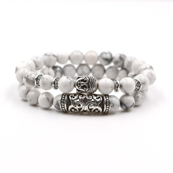NEW Design Natural Stone Lava Beads Bracelet Set Antique SilverPlated Buddha Bracelet For Men Women Jewelry Gift 2pc - intl
