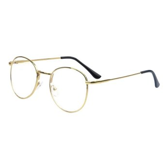 New Design Round Plain Eye glasses Men Women Metal Frame Optical Computer Make Myopia Eyeglasses Frame H4197-03 (Gold)