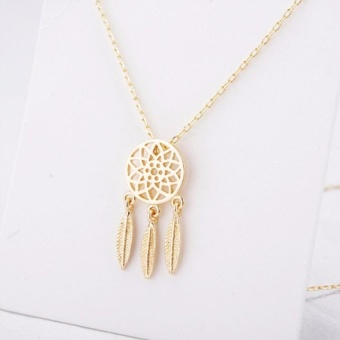New Fashion accessories wedding Jewelry Bohemian Feathers necklace Gold Silver Dream Catcher pendant for girl - intl - 2