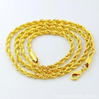 New Fashion Mens Gold Filled 5mm Twisted Rope Chain Necklace 30Inches - intl