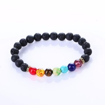 New Fashion Natural Stone Beads Bracelets Black Lava Stone BraceletFor Men Women Healing Balance Beads Yoga Bracelets - intl