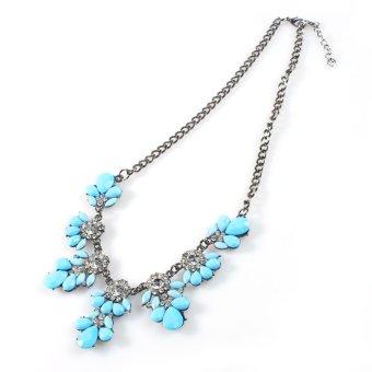 New Fashion Women Vintage Crystal Flower Crystal Bib Choker Statement Necklace-sky blue - Intl