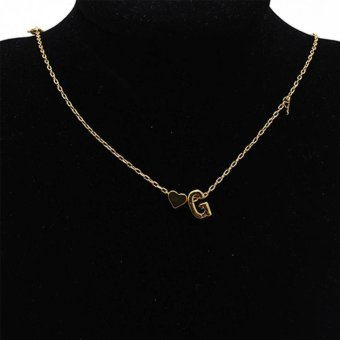New Fasion A-Z 26 Letters with Love Heart Pendants Choker Necklacesfor Lovers Gift (G) - intl