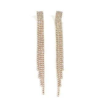 New Gold Silver Color Long Tassel Drop Earrings Women Luxury Pave Rhinestone Crystal Dangle Earrings for