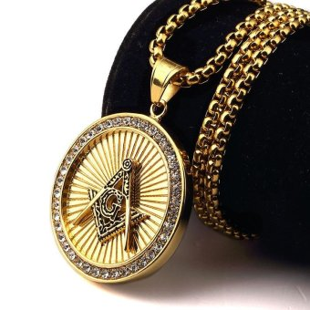 New Iced Out Gold Freemason Masonic Compass G Round PendantFree-Mason Freemasonry Hip Hop Necklace Fashion for Men Women -intl