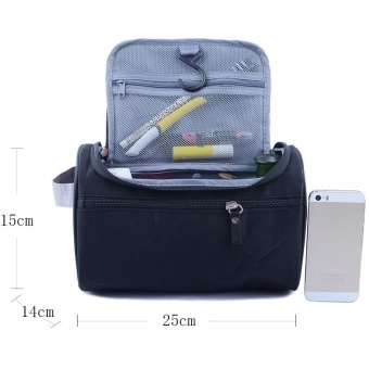 New Large Waterproof Makeup Bag Women and Men Wash Toiletry Bag Nylon Travel Cosmetic Bag NO.1 (Black) - intl - 4