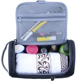 New Large Waterproof Makeup Bag Women and Men Wash Toiletry Bag Nylon Travel Cosmetic Bag NO.1 (Black) - intl - 3