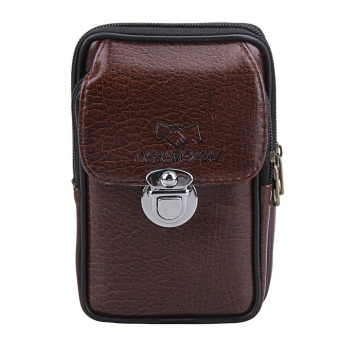 New Men PU Leather Phone Vertical Zipper Vintage Waist Bag (Brown)- intl