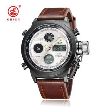 New OHSEN Men Watch Dual Time Zone Alarm LCD Sport Watch Mens Quartz Wristwatch Leather Waterproof Dive Sports Digital Watches Price Philippines
