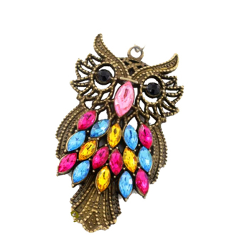 New Retro Owl Carved Hollow Chain Color Crystal Personality Girl Necklace