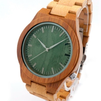 New Style Bobobird green wood full of bamboo movement Japan 2035quartz watch bamboo green surface - intl