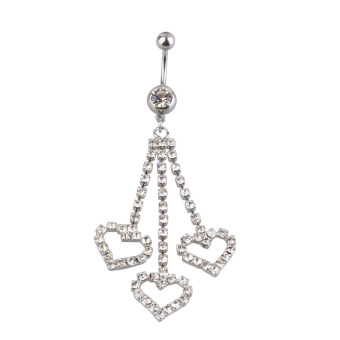 New Three Chain Crystal Heart Dangle Navel Belly Button Ring Piercing Jewel