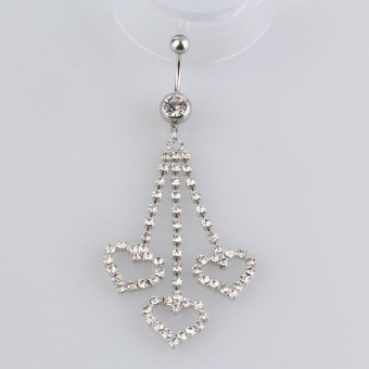 New Three Chain Crystal Heart Dangle Navel Belly Button Ring Piercing Jewel - picture 2