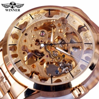 New Winner Gold Watch Mens Watches Top Brand Luxury Full Steel Man Clock Skeleton Mechanical Watch - intl