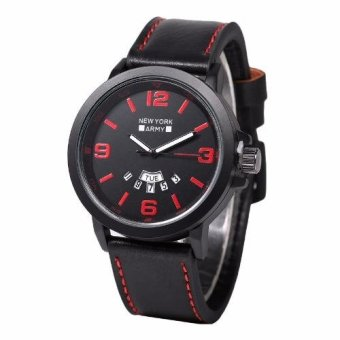Newyork Army Day-Date Collection Men's Leather Strap Watch - NYA8940 Red