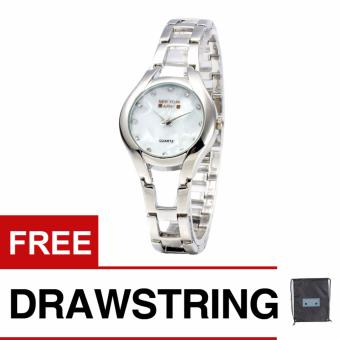 Newyork Army NYA180 MOP Mother of Pearl Ladies Watch - Silver with free Newyork Army Drawstring Backpack