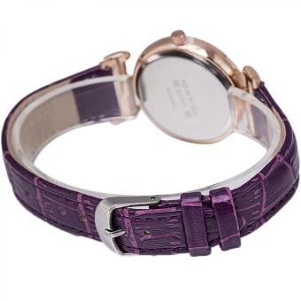 Newyork Army NYA8201 Ladies Rosegold Case Leather Strap Watch - Purple - 3