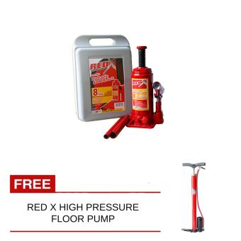 NFSC - Red X Bottle Jack 8Ton With Free High Pressure Floor Pump