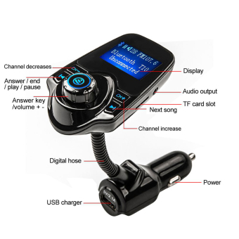 niceEshop Bluetooth Car MP3 Player FM Transmitter With USB ChargerAnd Aux Cord (Black) - 3