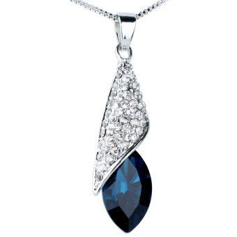 niceEshop Crystal The Light of Dessert Pendant Short Necklace,Peacock Blue